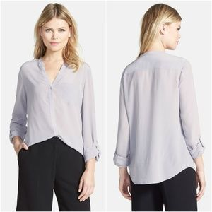 Nordstrom Trouve Silk Roll Tab Sleeve Blouse